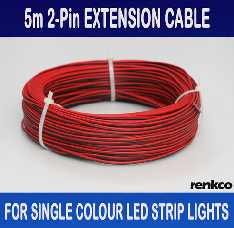 RenkCo 5 metres 2-Pin flexible extension cable wire for single colour LED strip lights