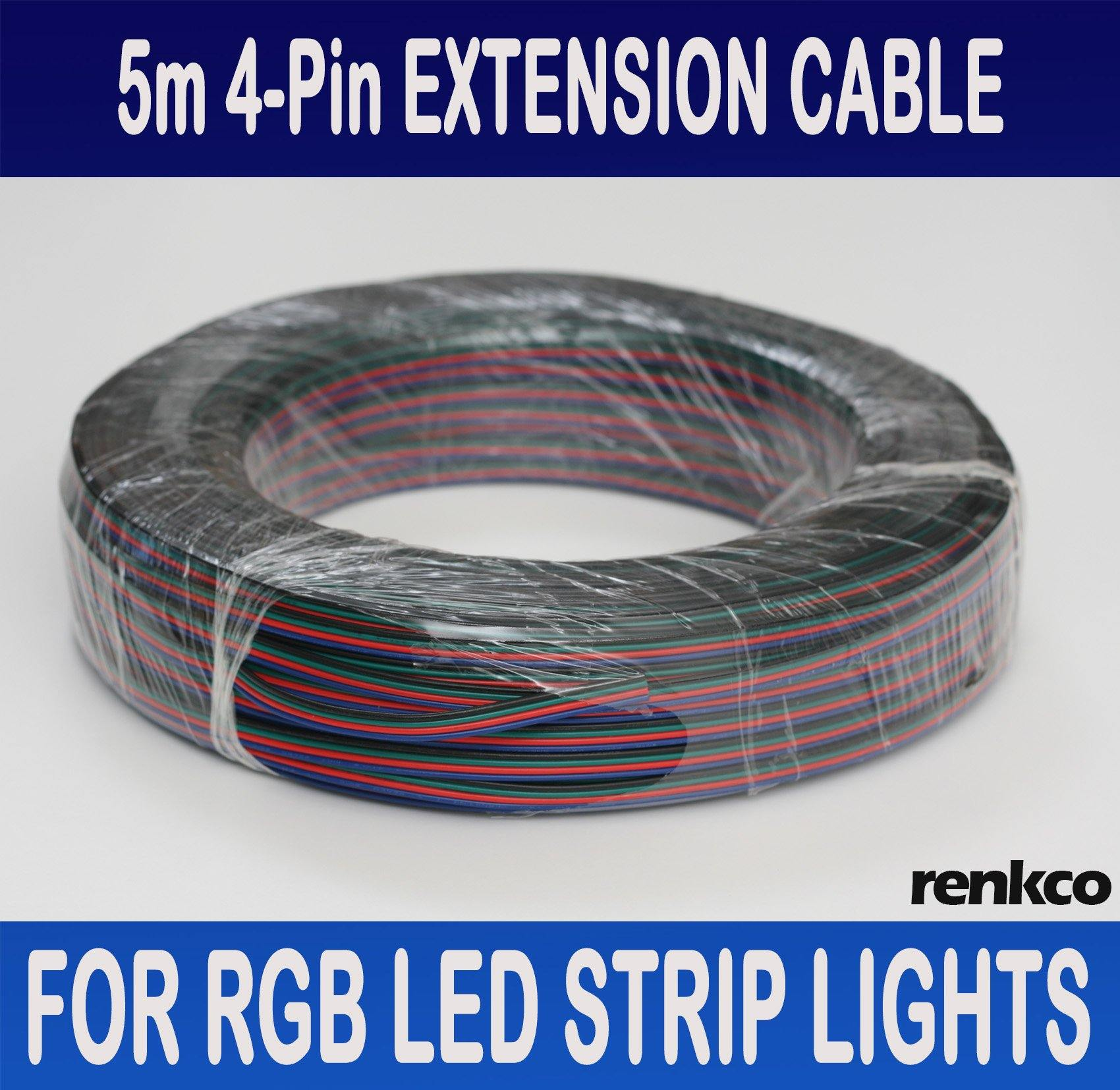 RenkCo 5 Metres 4-Pin Wire Flexible Extension Cable Cord for RGB Led ...