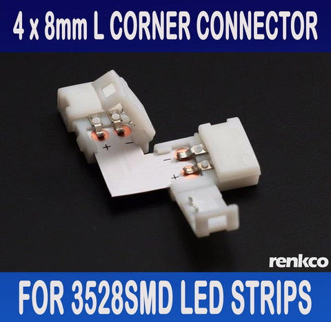 RenkCo 4 Sets of 8mm LED Strip L Shape Corner Connector Set For 3528 SMD LED Light Strips