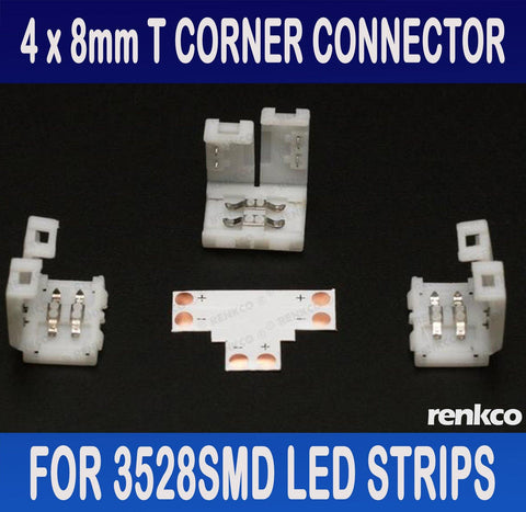 RenkCo 4 Sets of 8mm LED Strip T Shape Corner Connector Set For 3528SMD LED Strips