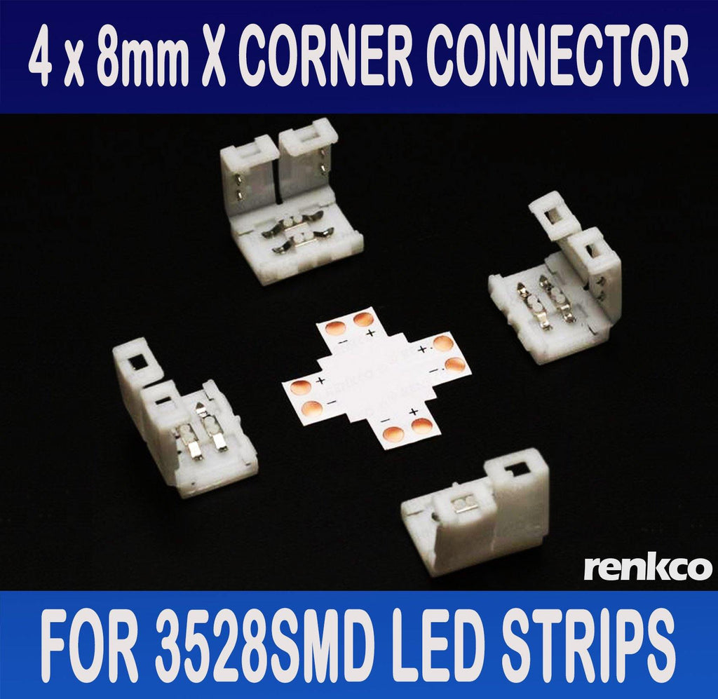 RenkCo 4 Sets of 8mm LED Strip X Shape (+) Corner Connector Set For 3528SMD LED Light Strips