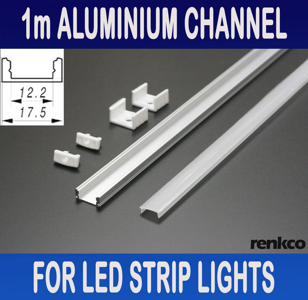 RenkCo 1m Aluminium Channel Profile Bar Diffuser Track for LED Strip Lights Cabinet