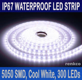 5m IP67 Waterproof 5050 LED Strip Rope Lights Cool White 12V 300 LEDs/roll