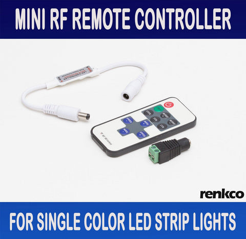 RenkCo Mini RF Wireless Remote Controller for Single Colour LED Strip Lights Bar Light