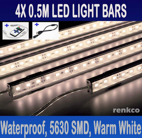 4X 0.5m 12V Waterproof Warm White 5630 Led Strip Lights Bars For Car Camping Boat + RF Remote