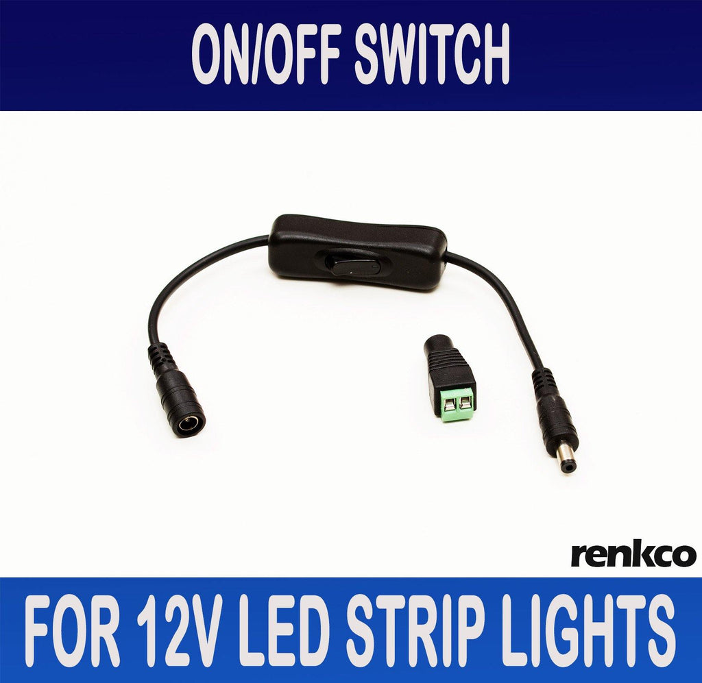 RenkCo On/Off Switch For 12V LED Strip Lights With Male & Female DC Plugs + Female Jack