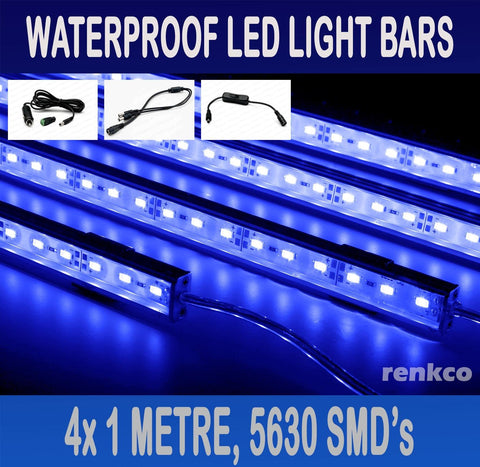 4x1 Metre Rigid LED Strip Light Bars Blue 12V 5630 + Cigarette Adapter