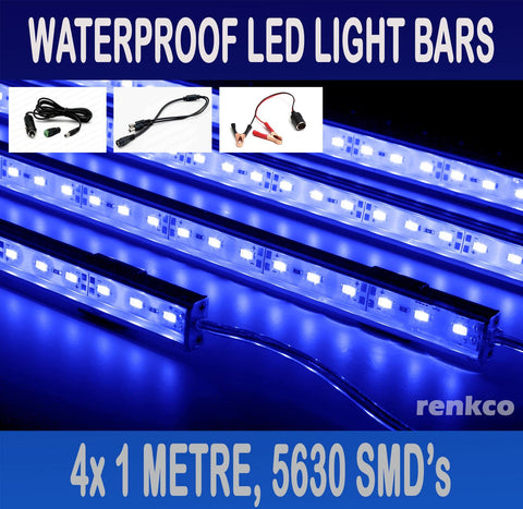 4x1 Metre Rigid LED Strip Light Bars Blue 12V 5630 + Gator +Cigarette Adapter