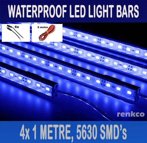 4x1 Metre Rigid LED Strip Light Bars Blue 12V 5630 + Extension Pack + Camping