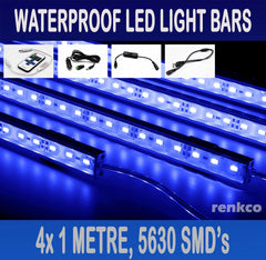 4x1 Metre Rigid LED Strip Light Bars Blue 12V 5630 + RF Remote+Cigarette Adapter