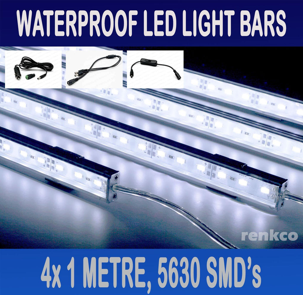 4x1 Metre Rigid LED Strip Light Bars Cool White 12V 5630 + Cigarette Adapter