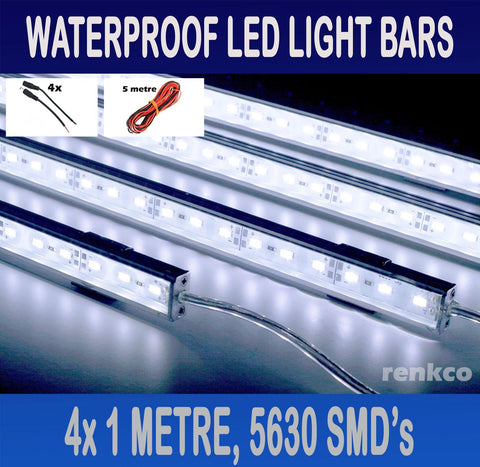 4x1 Metre Rigid LED Strip Light Bars Cool White 12V 5630 +Extension Pack+Camping