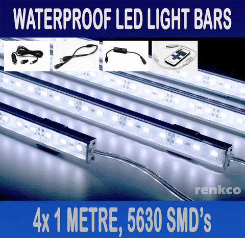 4x1 Metre Rigid LED Strip Light Bar Cool White 12V 5630 + RF Remote +CIG Adapter