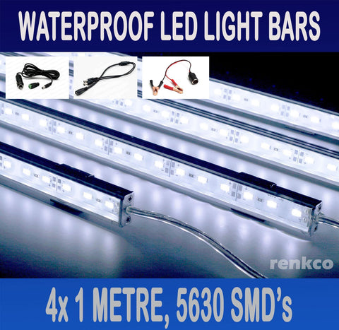 4x1 Metre Rigid LED Strip Light Bar Cool White 12V 5630 +Gator+Cigarette Adapter