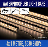 4x1 Metre Rigid LED Strip Light Bars Warm White 12V 5630 + Cigarette Adapter