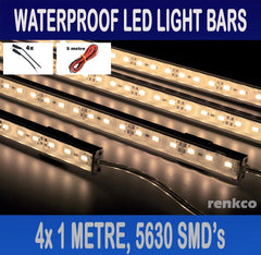 4x1 Metre Rigid LED Strip Light Bars Warm White 12V 5630 +Extension Pack+Camping