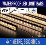 4x1 Metre Rigid LED Strip Light Bar Warm White 12V 5630 + RF Remote +CIG Adapter
