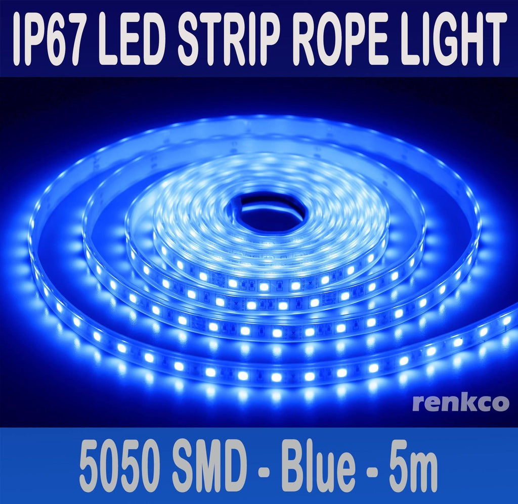 Blue 5m IP67 Waterproof 5050 LED Strip Rope Lights 12V 300 LEDs For Car, Patio