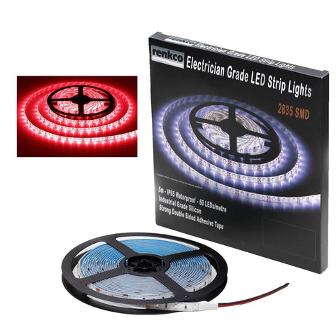 Electrician Grade 2835 SMD Red LED Strip Lights IP65 Waterproof 12V DC