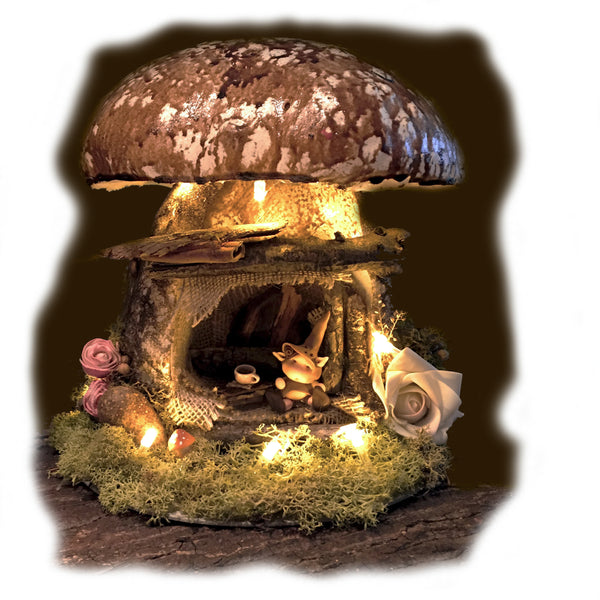 Mushroom Fairy House with light