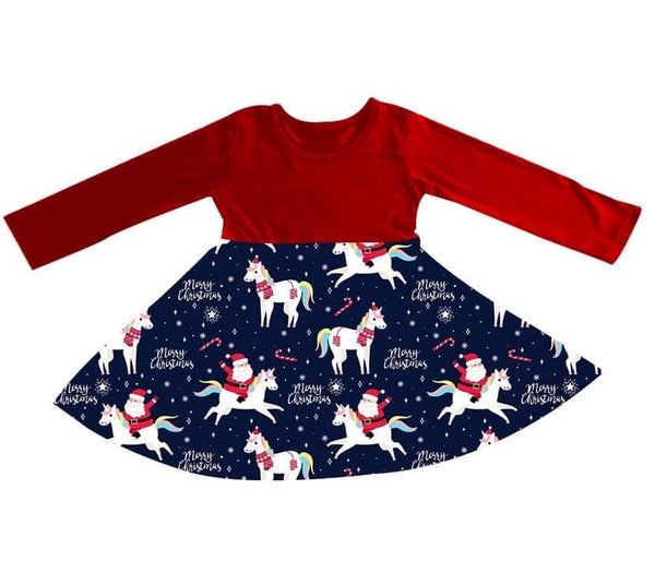 Unicorn & Santa Dress - Miracles Christmas Collection