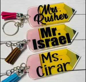 Pencil Keychains with Personalization