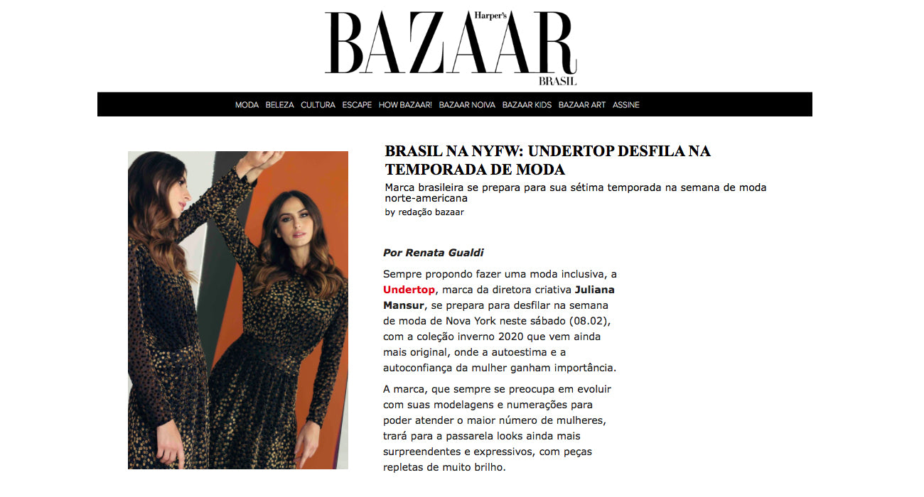 Undertop no site da BAZAAR