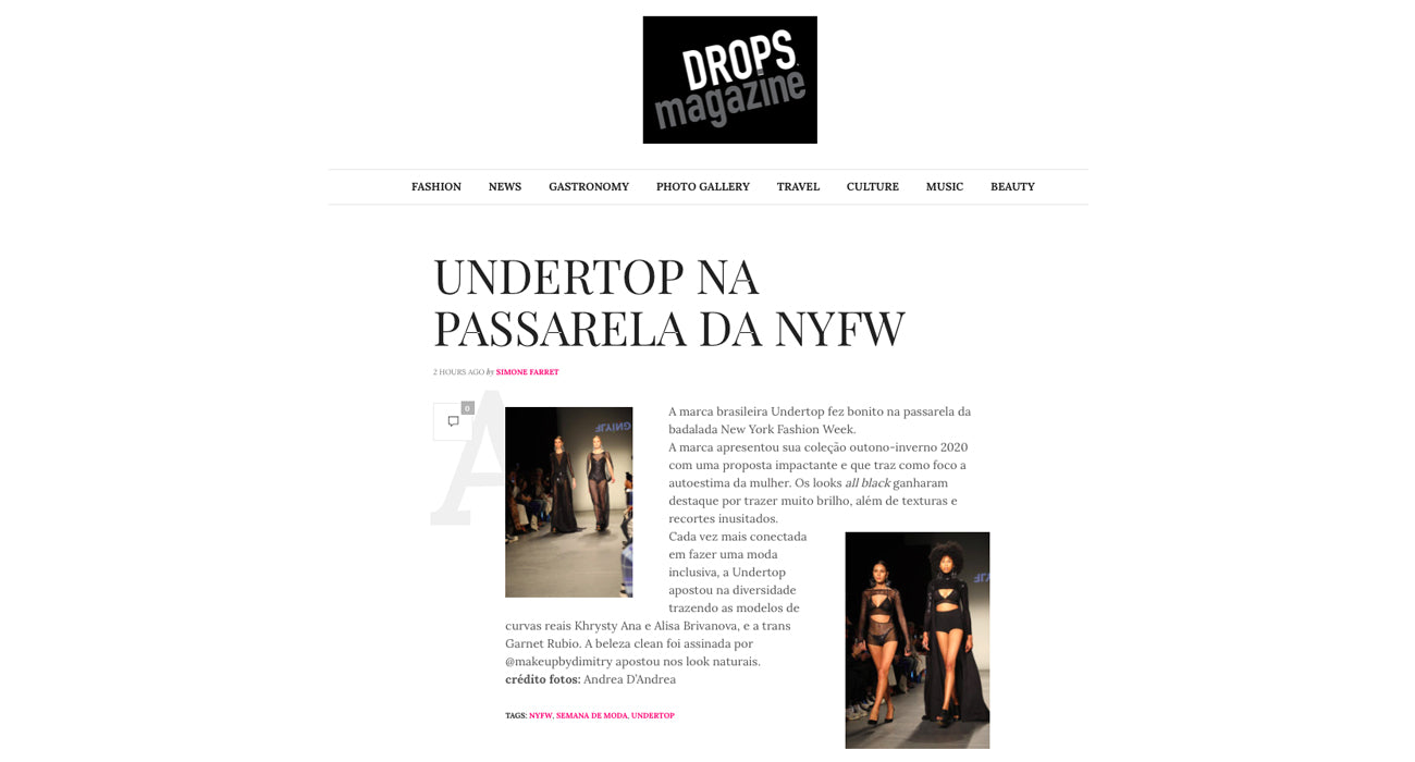Undertop no site Drops Magazine