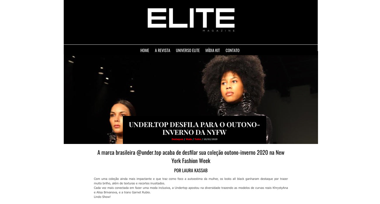 Undertop no site Elite Magazine
