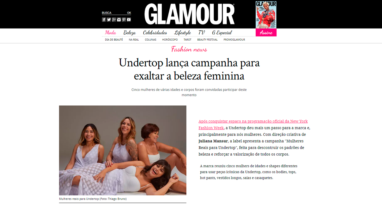 Undertop no site Glamour