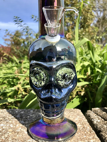 "Image of Fat Buddha Glass Bong 15"" Skull Glow in the DARK EYES"