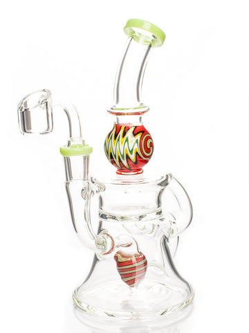 Image of Fat Buddha Glass Bong Green Wig Wag Dab Rig