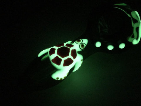 Image of Fat Buddha Glass Pipe Glow in the Dark Turtle Pipe