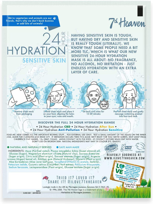 7th Heaven 24h Hydration Sensitive Skin Sheet Mask 16g for Sensitive Skin Moisturising Fragrance Free Enriched with Vitamin E Clinically Proven Dermatologically Tested