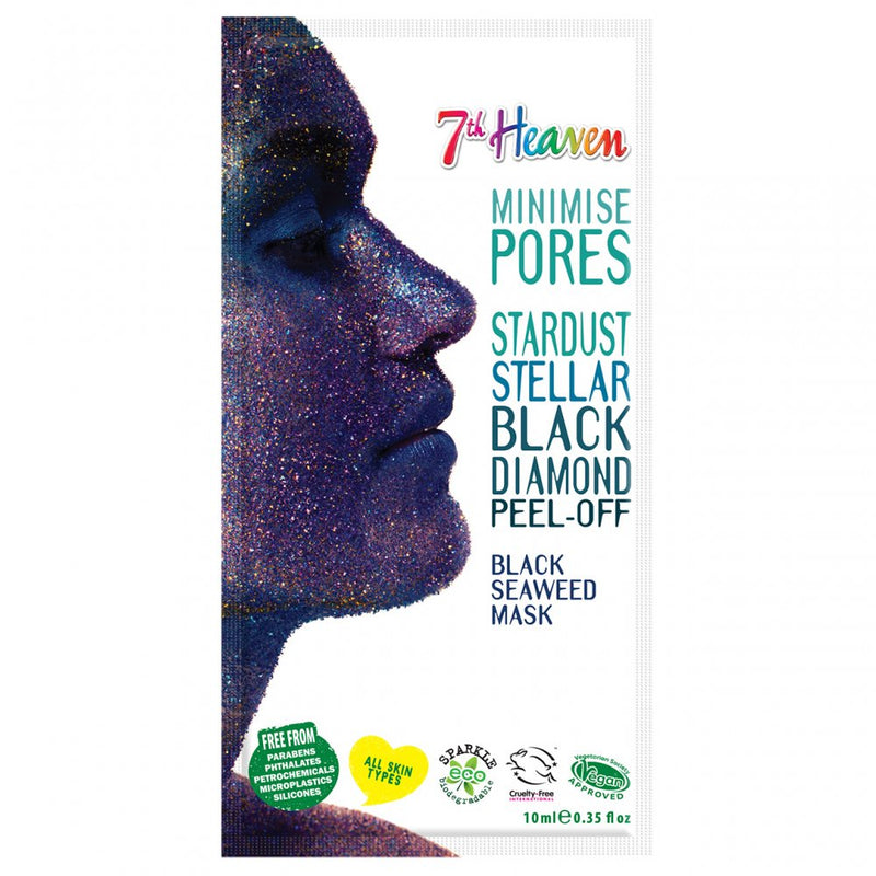 7th Heaven StarDust Stellar Black Diamond Peel-Off Black Seaweed Mask, 10ml