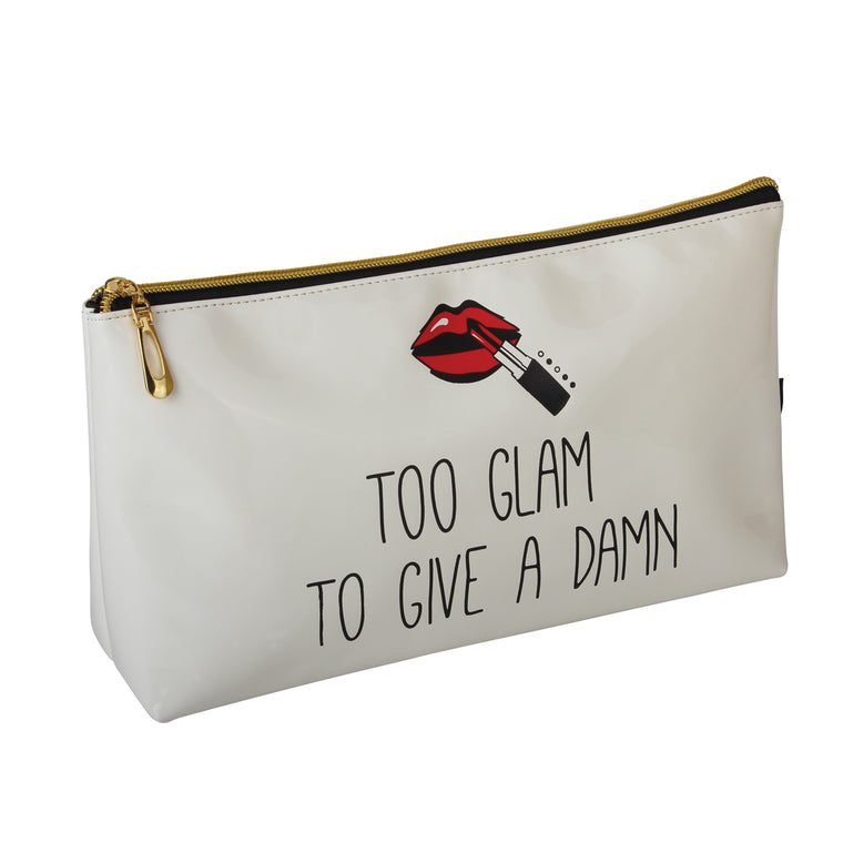 Fancy Metal Goods Cosmetic wash/makeup bag 'TOO GLAM TO GIVE A DAMN' Cream (Large Wash/cosmetic bag (30cm x 16.5 x 8cm))