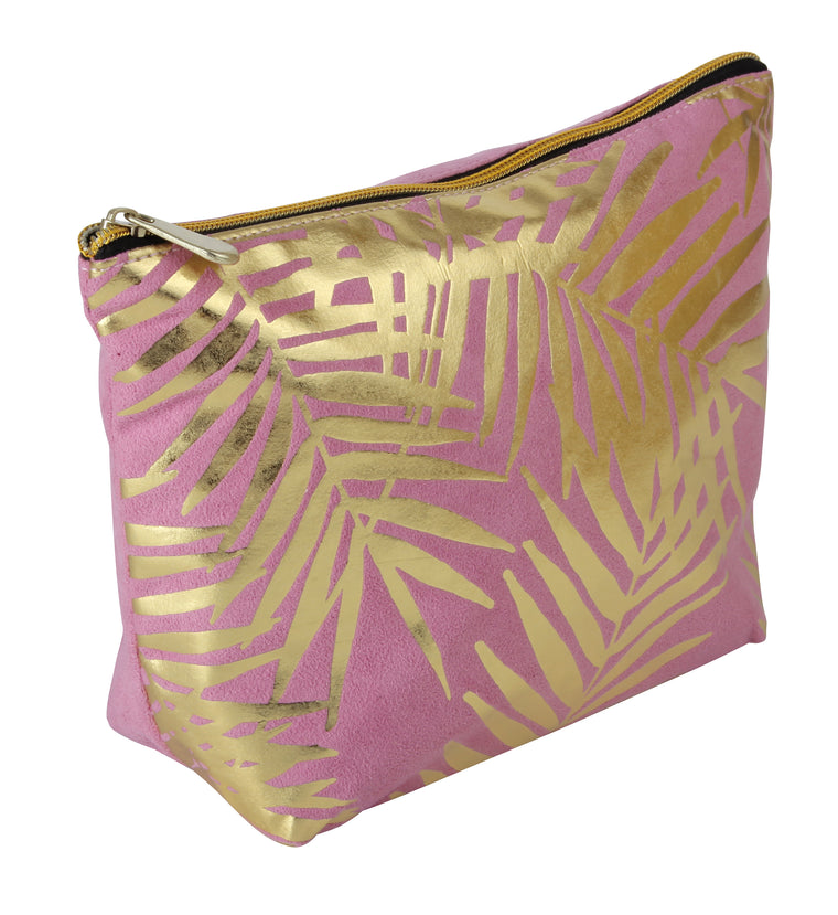 Fancy Metal Goods Pink Velvet with Gold Foil Palm Leaves Cosmetic Bag