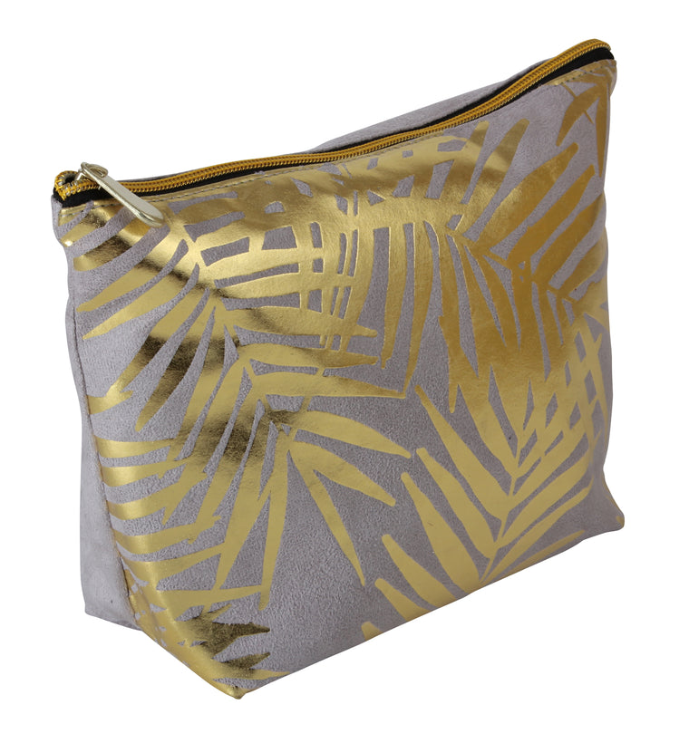 Fancy Metal Goods Grey Velvet with Gold Foil Palm Leaves Cosmetic Bag