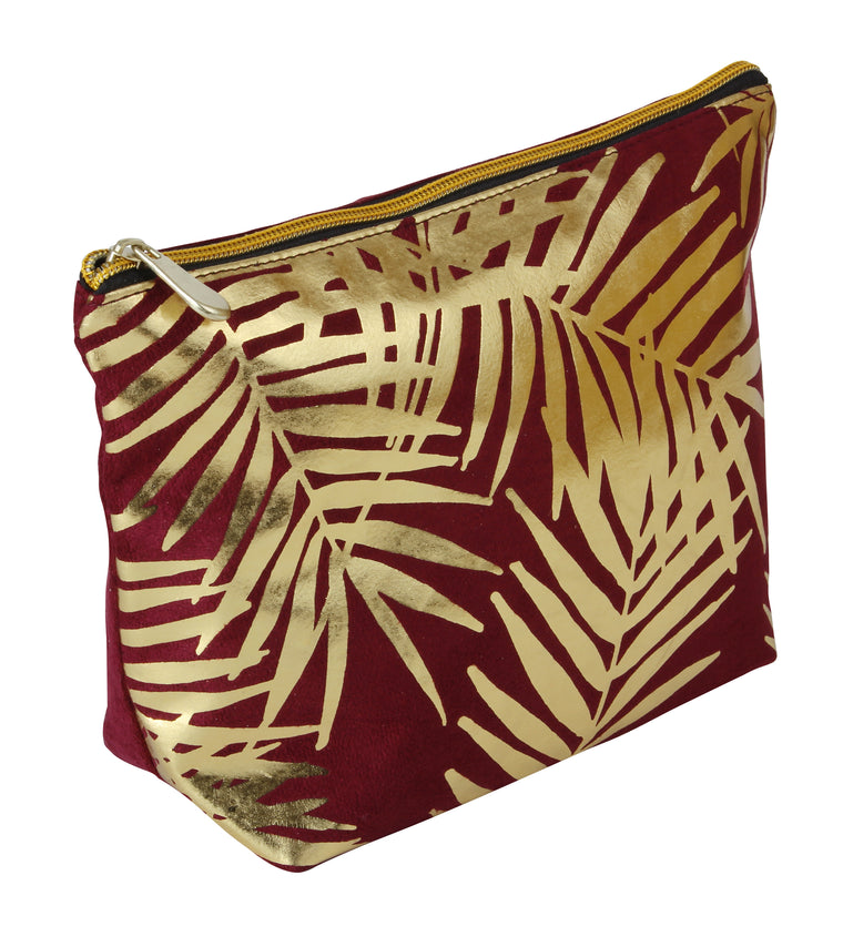Fancy Metal Goods Burgundy Velvet with Gold Foil Palm Leaves Cosmetic Bag