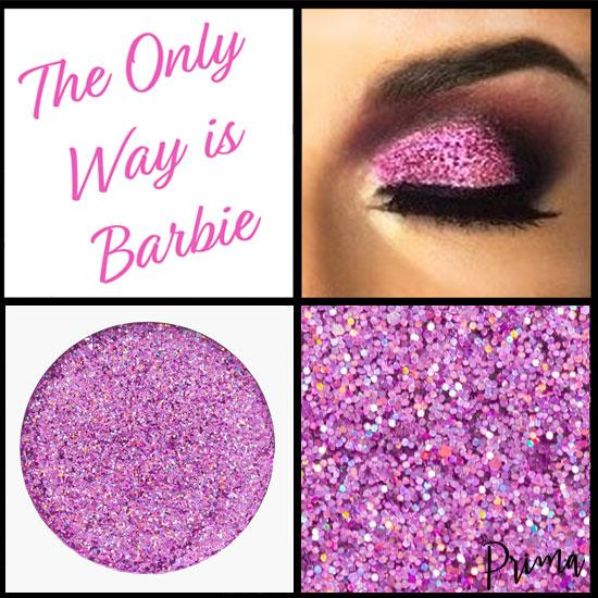 Prima Makeup Pressed Glitter Holographic Barbie Pink Eyeshadows  - The Only Way is Barbie