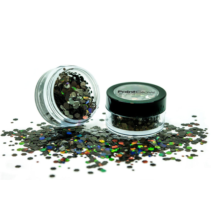 PaintGlow Holographic Chunky Glitter  – Vegan Cosmetic Glitter for Face, Body, Nails, Hair and Lip