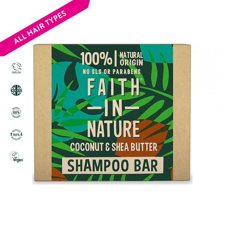 Faith in Nature Coconut and Shea Butter Shampoo Bar, 85g