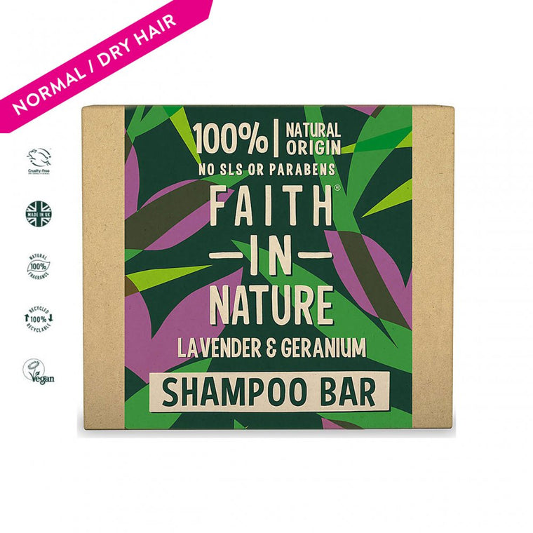 Faith in Nature Lavender & Geranium Shampoo Bar, 85g