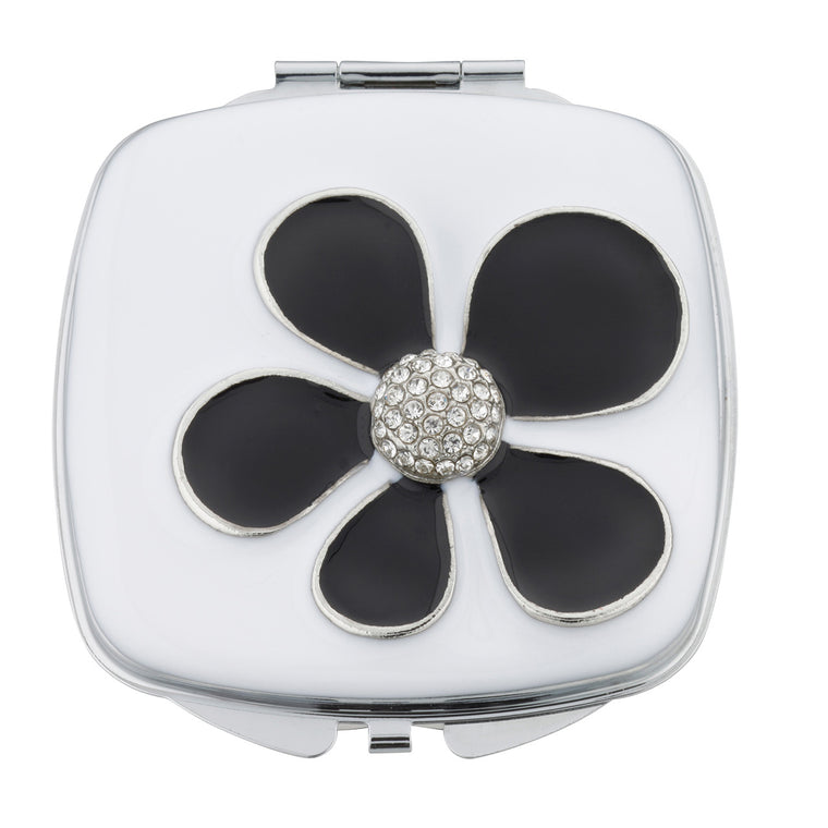 Fancy Metal Goods Black Flower Crystal Compact