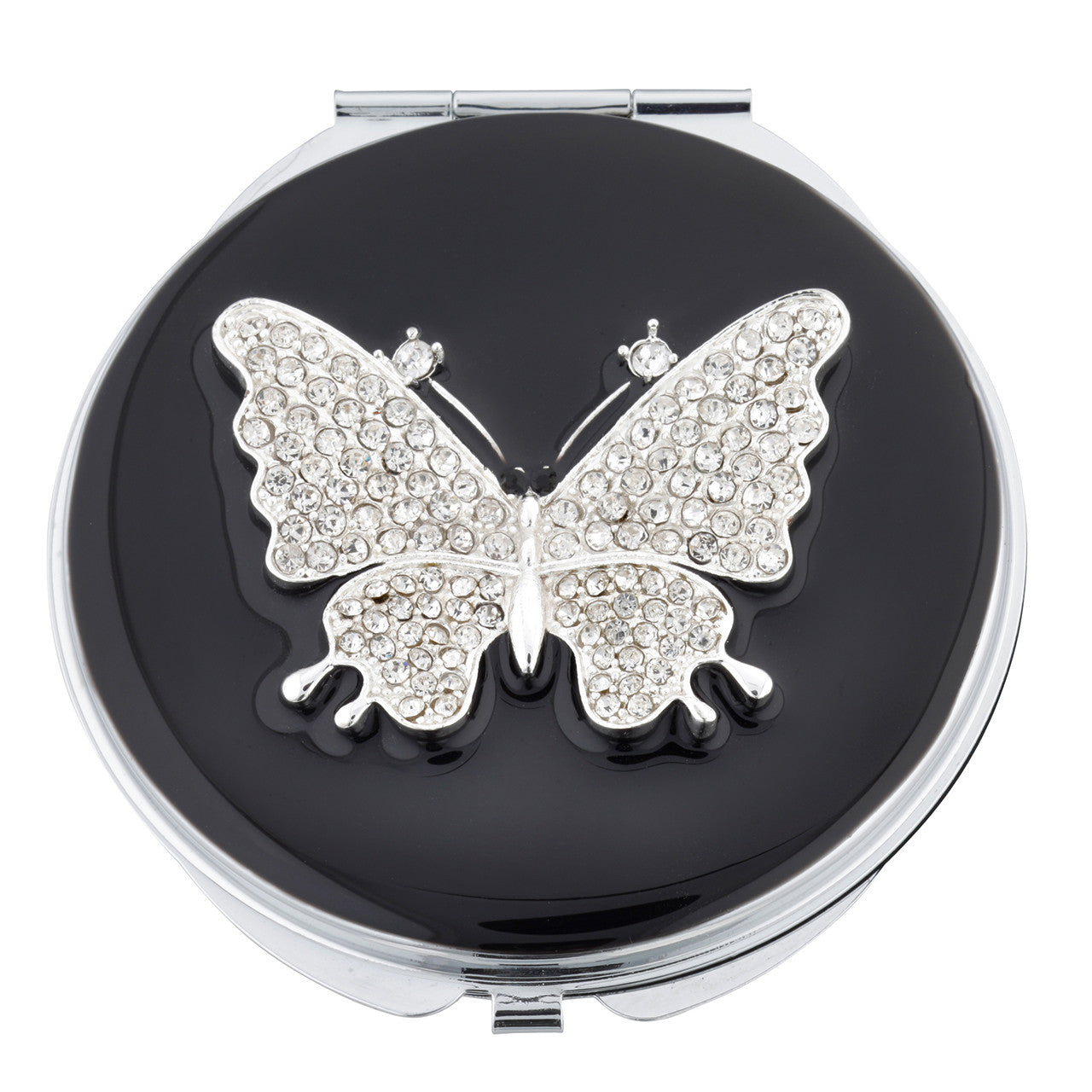 Fancy Metal Goods Compact Butterfly Crystal