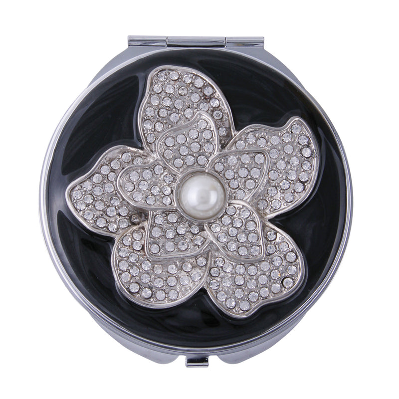 Fancy Metal Goods Crystal Flower Mirror Compact