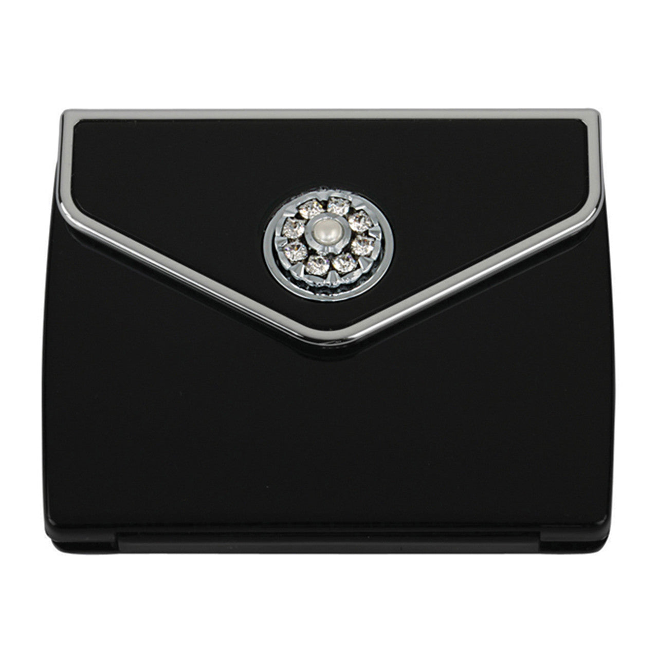 Fancy Metal Goods Pearl & Crystal Compact Envelope - Black