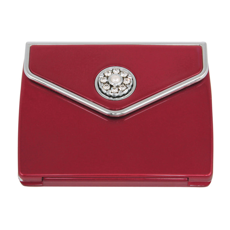 Fancy Metal Goods Pearl & Crystal Compact Envelope - Ruby