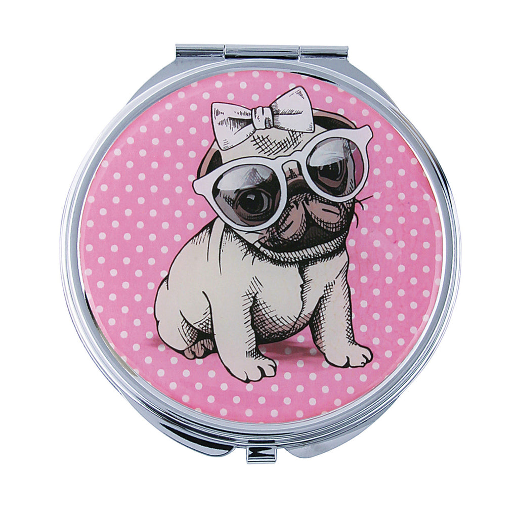 Fancy Metal Goods Pug Mirror Compact