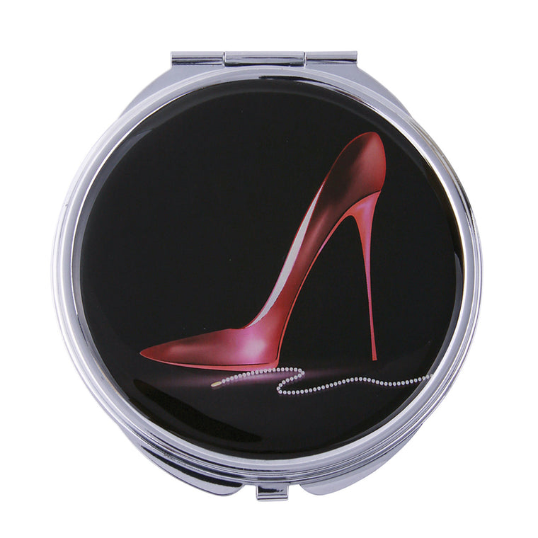 Fancy Metal Goods Compact Mirror Red Stiletto